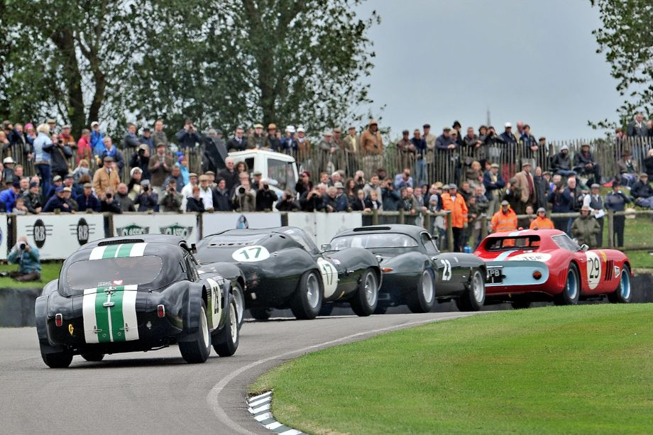 Tightly packed racing at beginning of RAC Tourist Trophy