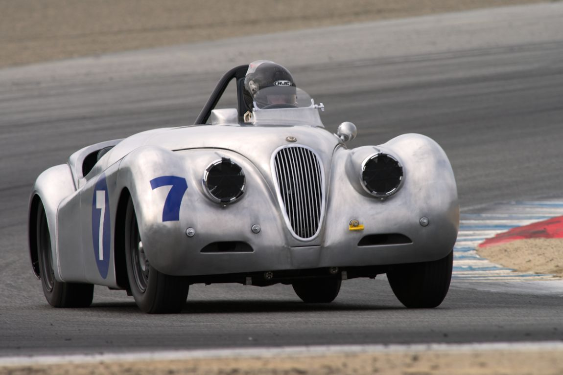 David Olson's aluminum 1958 Jaguar XK120 in turn 2.