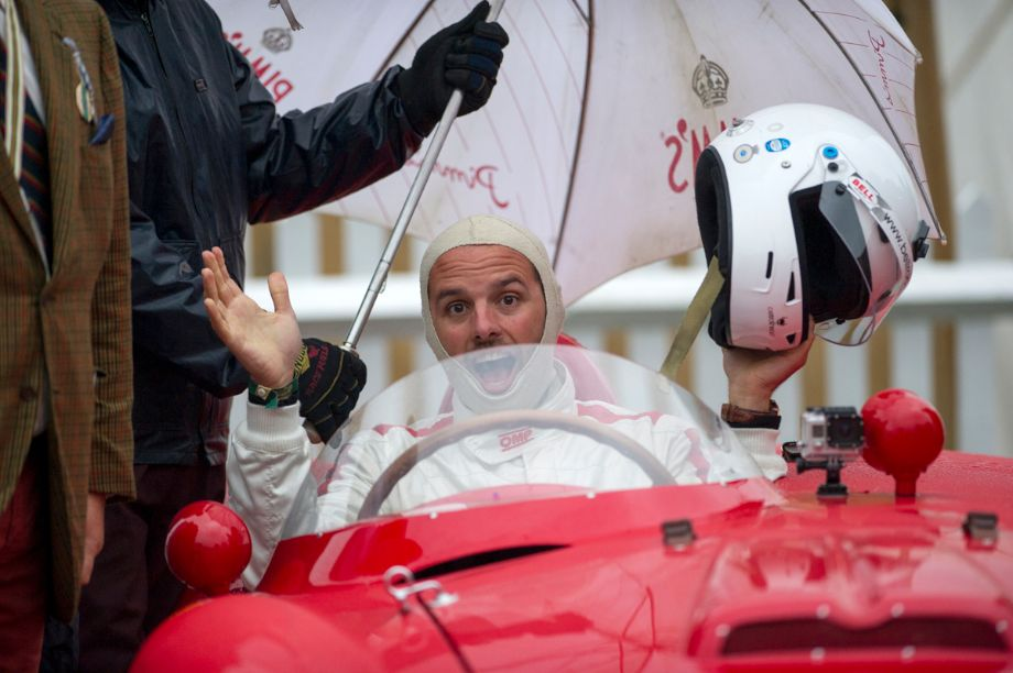 Max Girardo of RM Auctions before the Sussex Trophy Race at 2013 Goodwood Revival
