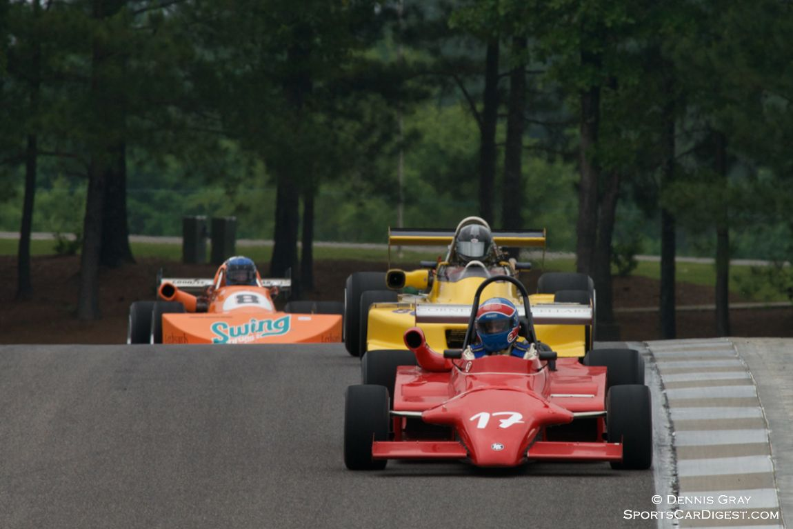 Three of the Group 1 cars in turn 15. Charles Wagner's Ralt RT4 in the lead