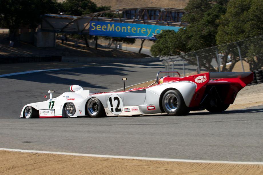 Erich Joiner's 1977 Chevron B36 follows Eddie Lawson's 1975 Osella down The Corkscrew.