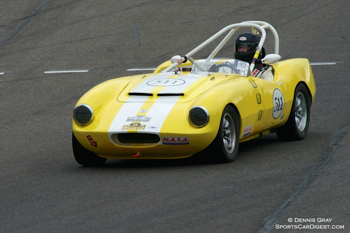 George Smith in his Elva Courier