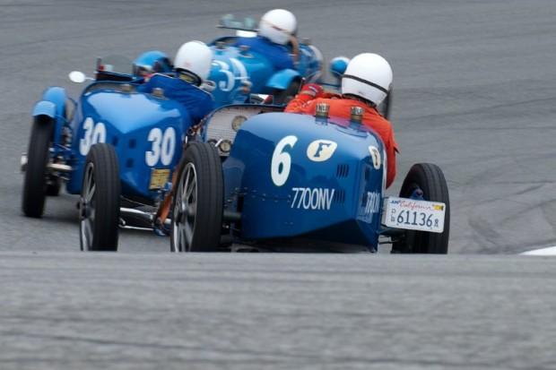 Bugattis in the Corkscrew at Monterey Motorsport Reunion