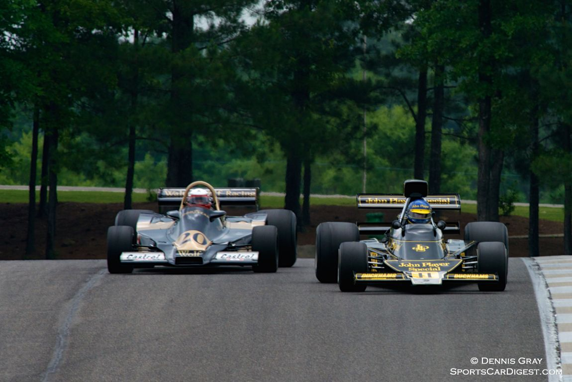 Eddie Lawson's Wolf WR4 and #11 Andrew Beaumont's Lotus 76