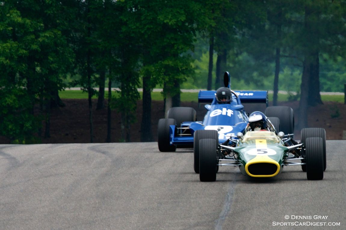 MacAllister's Lotus 49 leads the Tyrrell 007 driven by Nicholas Colyvas