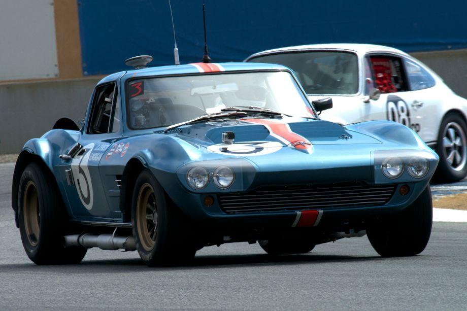 Bruce Canepa in the 1963 Corvette Grandsport in turn eleven.