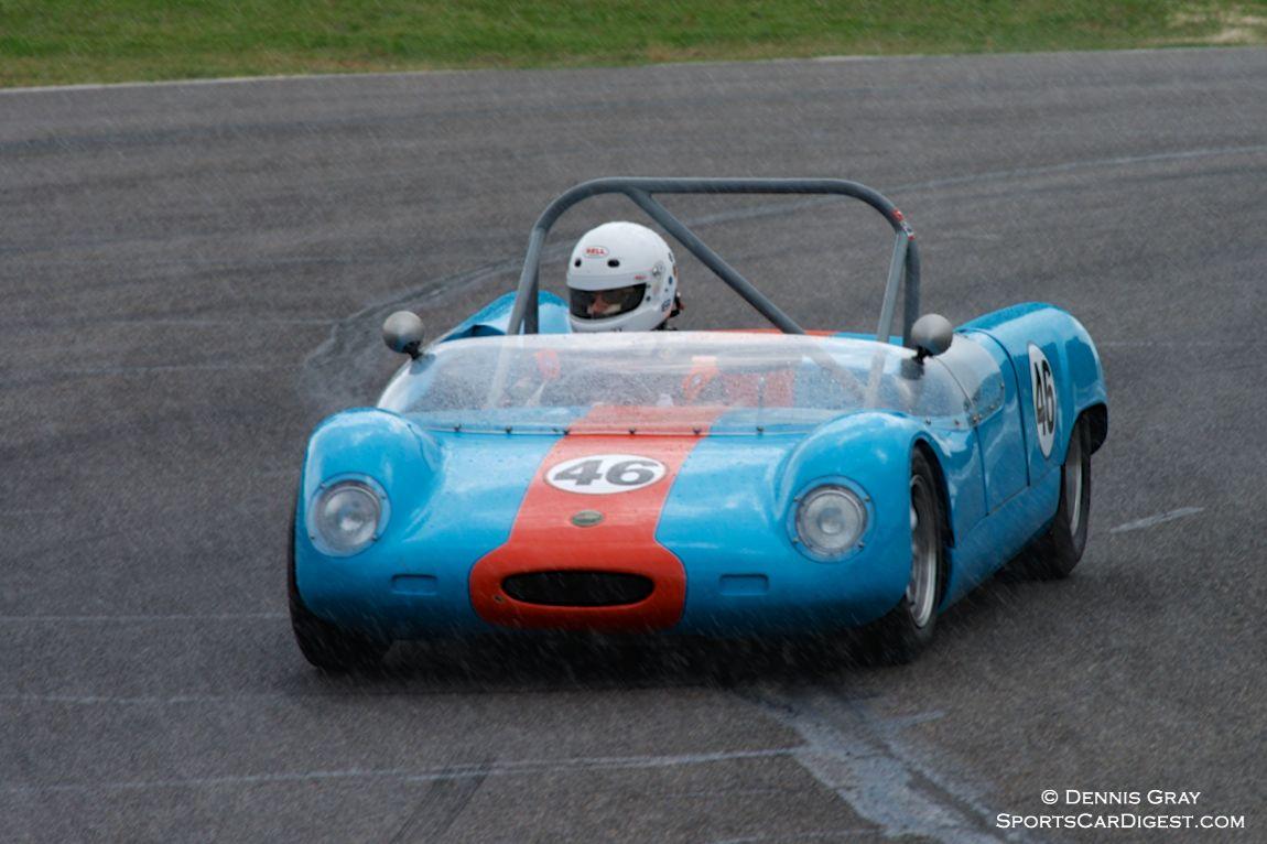 As the rain starts to fall, Tom O'Grady's Merlyn Mark 6A exits Turn 8
