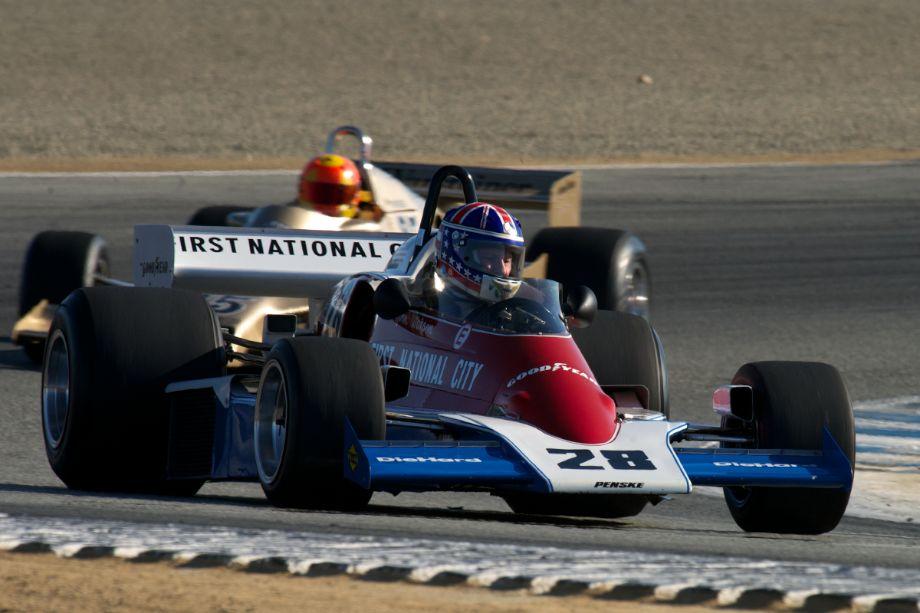 Doug Mockett's 1976 Penske PC4 in turn two late Sunday.