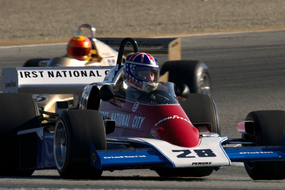 Doug Mockett's 1976 Penske PC4 in Laguna Seca's turn two during the Monterey Motorsports Reunion (photo: Dennis Gray)