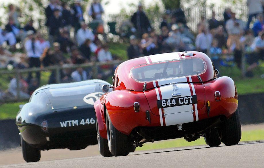 Bulges abound - AC Cobra chases a Lister Jaguar Coupe