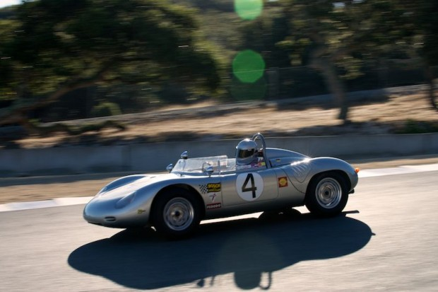 Early Sunday morning sun lights up the 1960 Porsche RS60 driven by Bill Lyon.