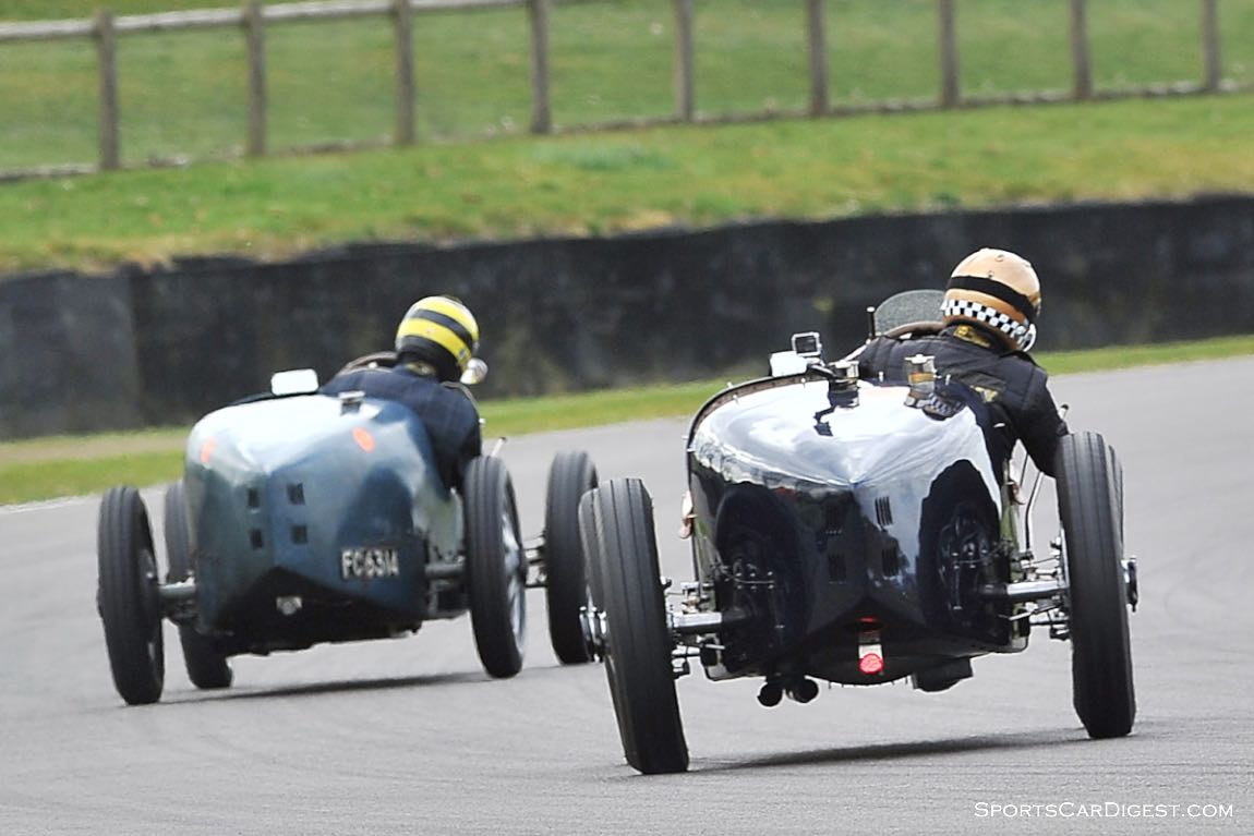 Bugattis in the bend at Goodwood