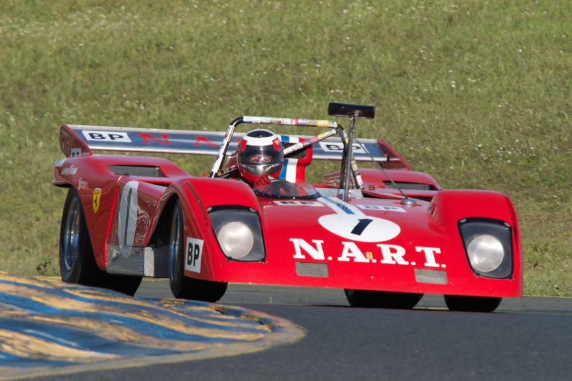 John Goodman's Ferrari Sparling 312P in turn two.