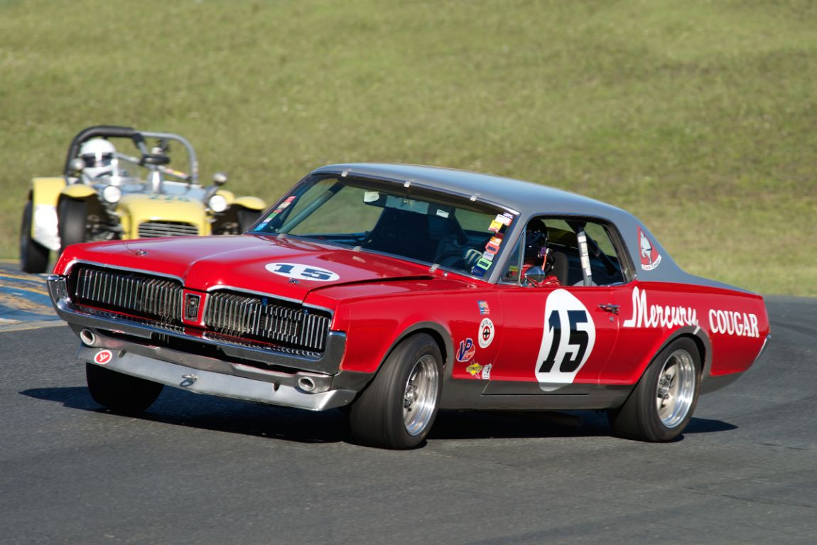 Tom Cotter over steers through turn two in the Mercury Cougar.
