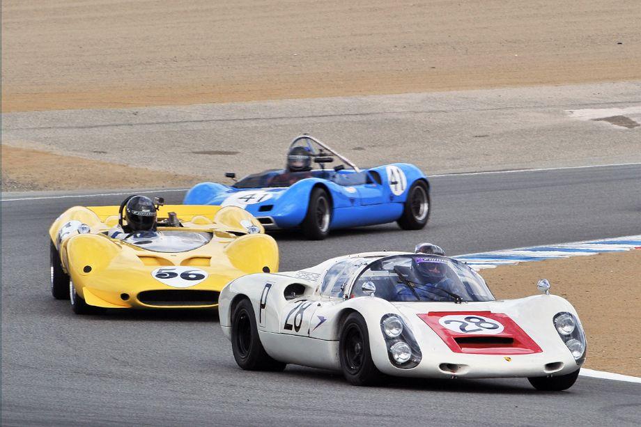 1967 Porsche 910, 1967 Shelby Can-Am Cobra and 1963 Elva Mk 7S