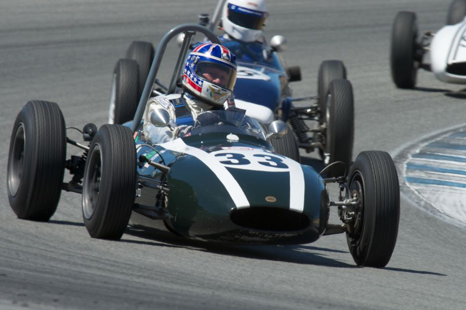 Doug Mockett's Cooper T56 in turn five Friday.