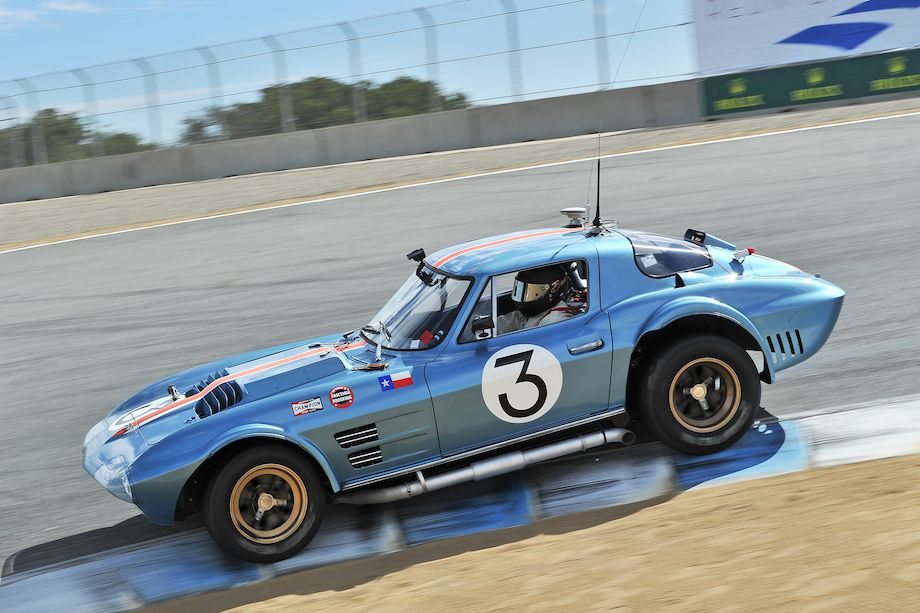 Chevrolet Corvette Grand Sport of Bruce Canepa dives the down the corkscrew during the Monterey Motorsports Reunion (photo: Tim Scott)