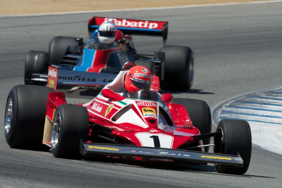 Chris MacAllister's Ferrari 312 T2 in turn five.