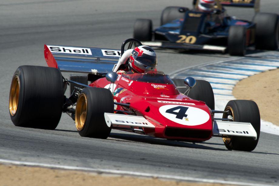 John Goodman's Ferrari 312 B2 in turn five.