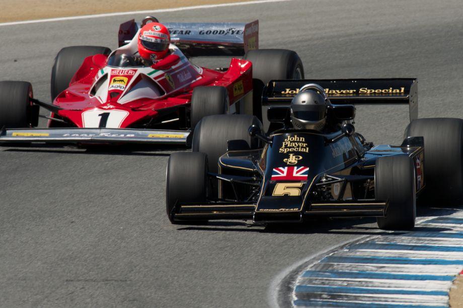Chris MacAllister's Ferrari 312 T2 and Chris Locke's Lotus 77 in turn five.