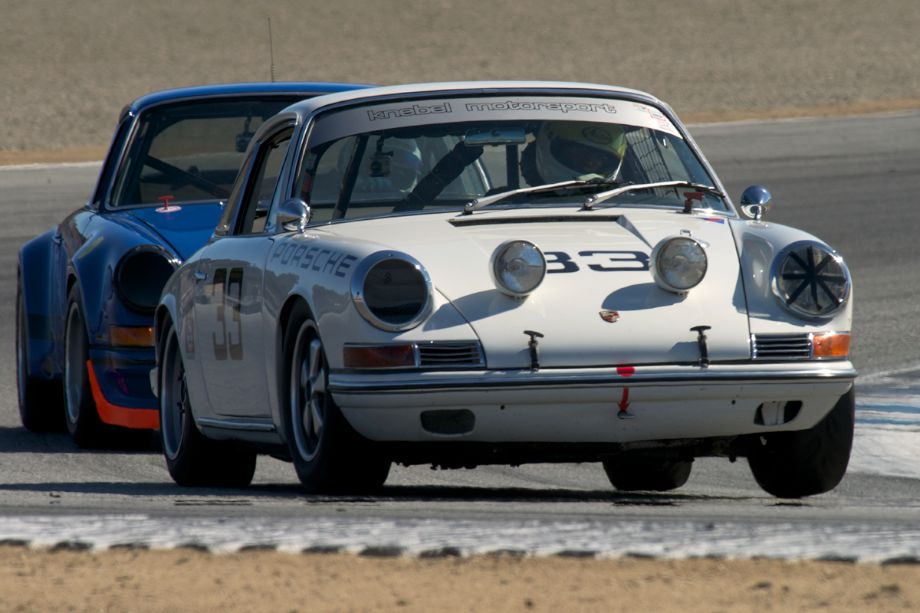 In turn two late Friday afternoon Adam Richardson's Porsche 901 Coupe.