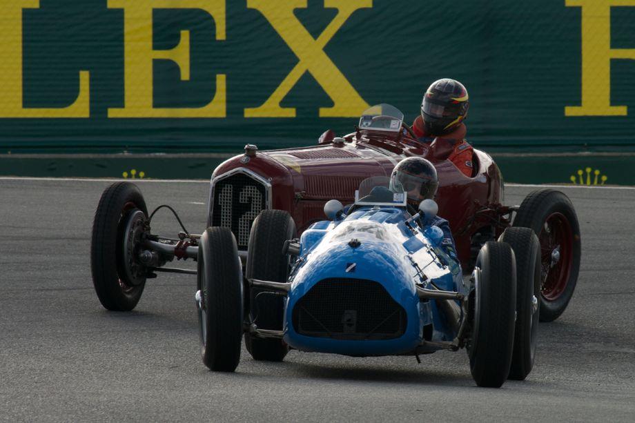Jon Shirley's Alfa Romeo Tipo B P3 and David Duthu's Talbot Lago T26C/DA in The Corkscrew.