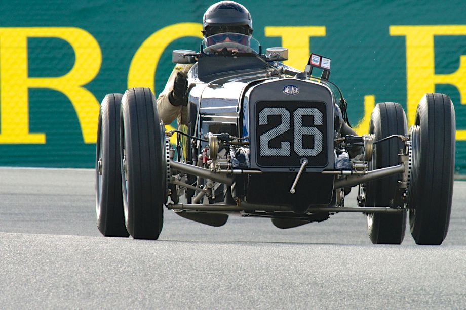 1926 Delage Grand Prix 15-S-8 driven by Peter Giddings in the corkscrew during the Monterey Motorsports Reunion (photo: Dennis Gray)