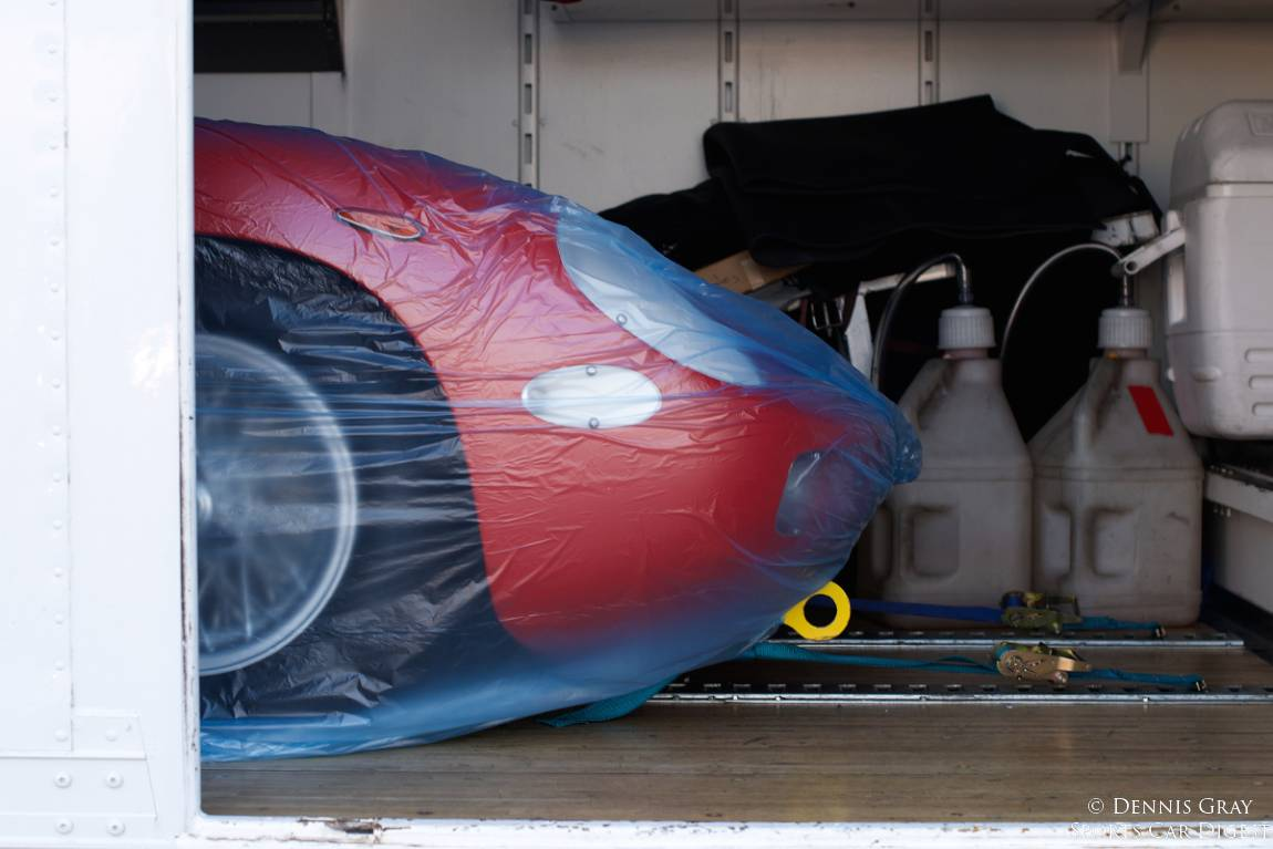 Ferrari 250P nose under wraps.