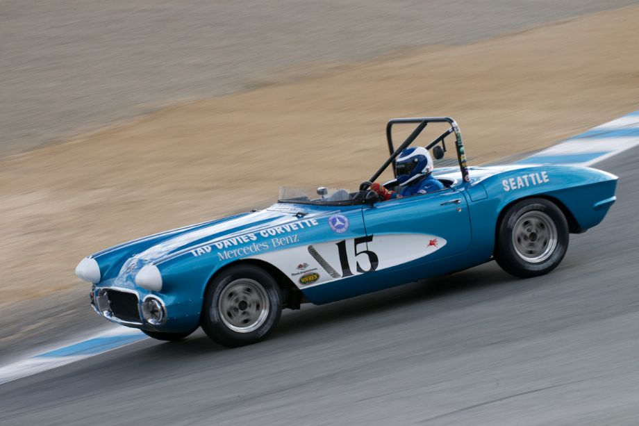 Art Redford drops his Chevrolet Corvette down The Corkscrew. There is no trick here The Corkscrew is this steep.