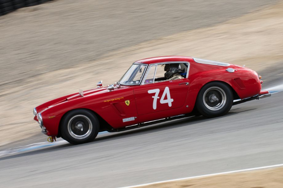 Ned Spieker's Ferrari 250GT SWB drops down The Corkscrew.