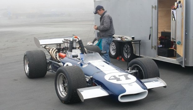 Steve and his Gurney Eagle Mk 5, pits at Laguna Seca