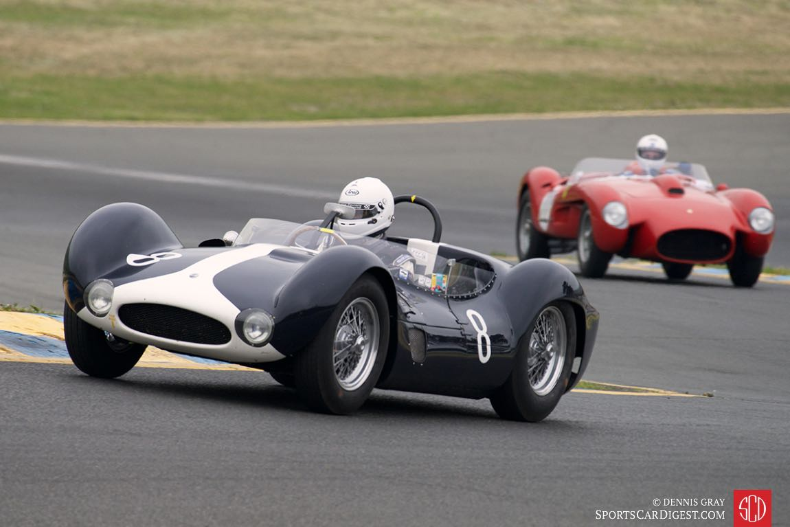 Jeff O'Neill's Maserati Tipo 61 Birdcage up the hill into turn two.
