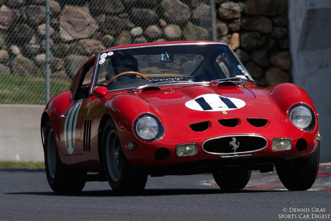 Sandra McNeil in her 1962 Ferrari 250 GTO exits turn twelve.