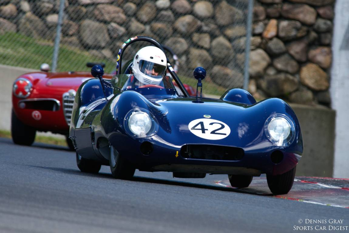 Arthur Cook's 1958 Lotus Eleven exits turn twelve.