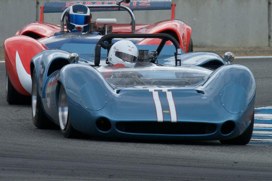 David Pozzi's Lola T70 in turn eleven Saturday.