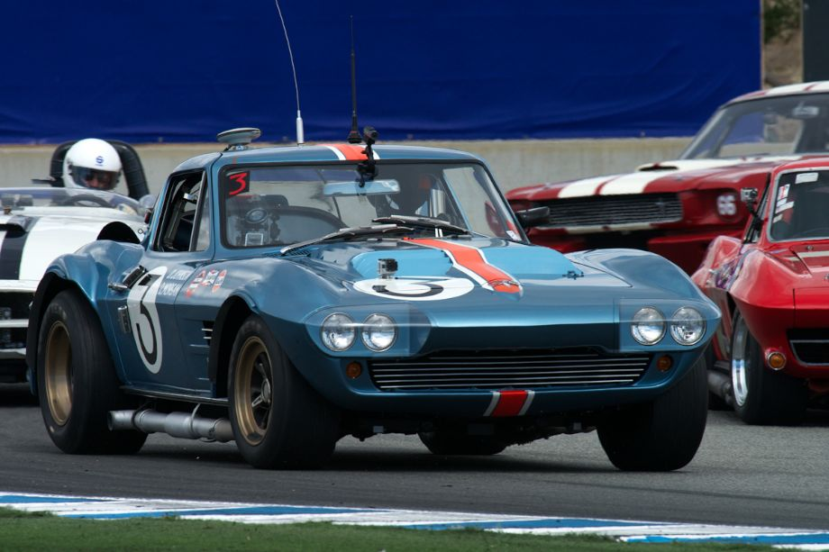 Bruce Canepa's Chevrolet Corvette Grand Sport leads the pack during the early laps Saturday.
