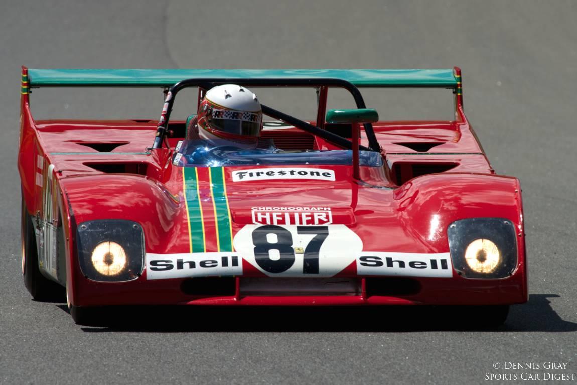 At speed up the hill into turn twelve, Steven Read's 1972 Ferrari 312PB.