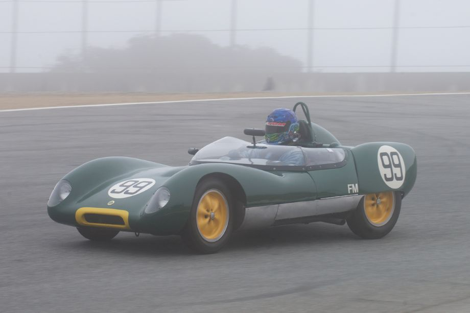 The fog starts to burn off. Thor Johnson's Lotus 17 in the Corkscrew.