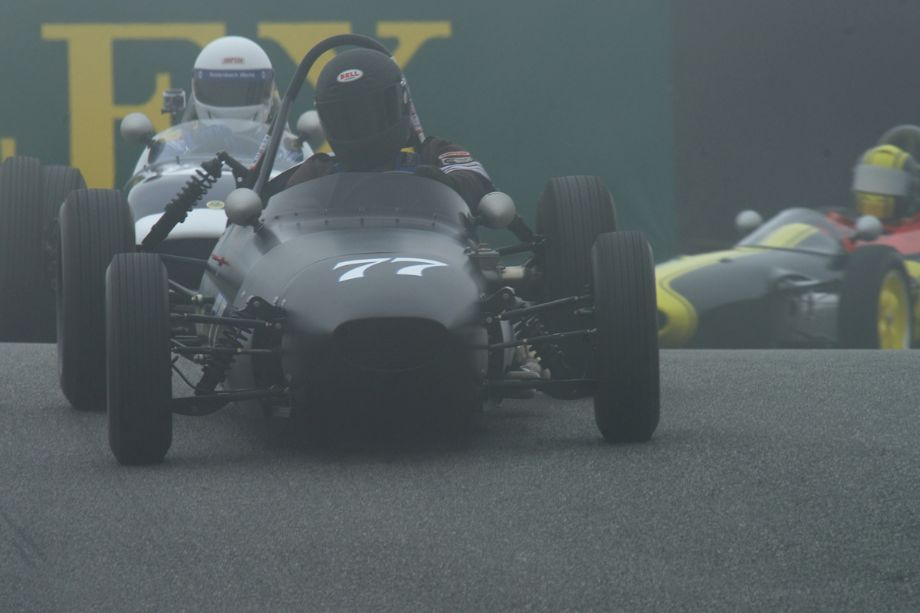 Just to show a sense of humor the fog returns. Mark Sange in his BMC Huffaker Mk.1 FJr. over the top of The Corkscrew.