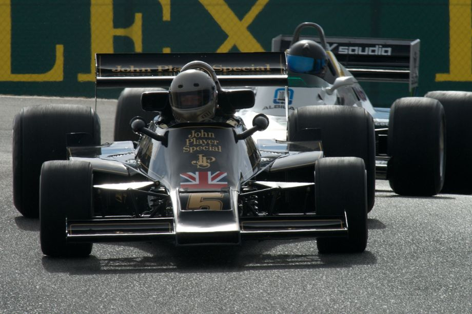 Suddenly the fog is gone. Chris Lock in his Lotus 77.