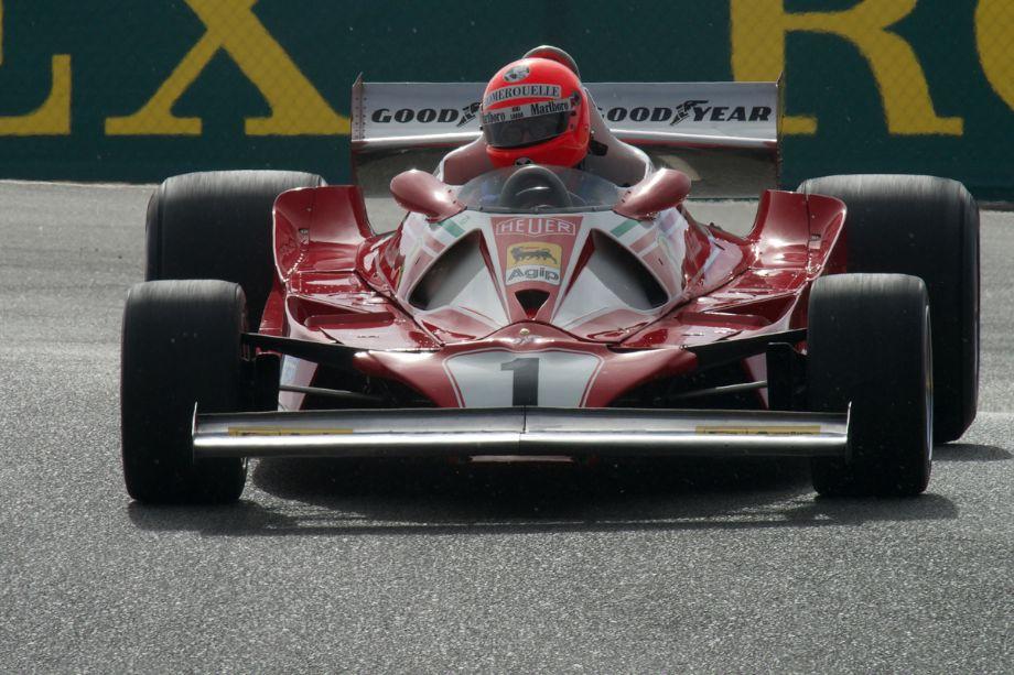 Chris MacAllister's Ferrari 312 T2 in The Corkscrew.
