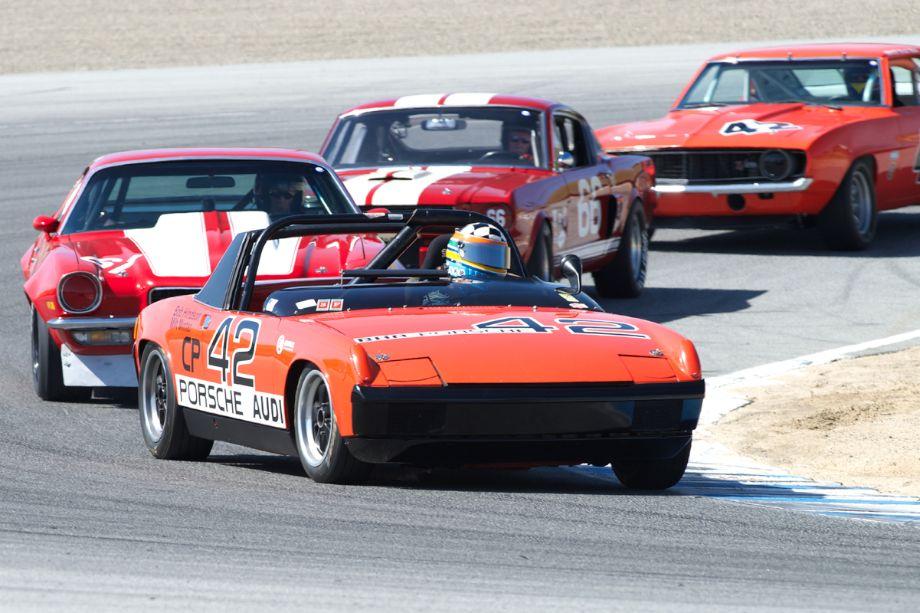 Eddie Arrowsmith's Porsche 914/6 leads in two.