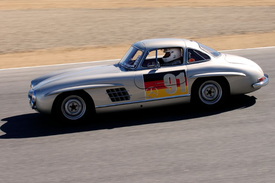 Bright sunlight replaces fog. Alex Curtis in his Mercedes-Benz 300SL Gullwing.