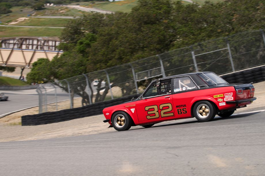 Holding on or relaxed - Chuck Stephens in his 1969 Datsun 510