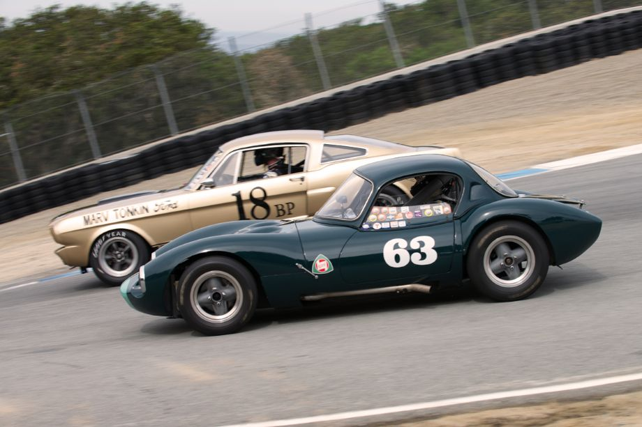 Michael Sweeney's 1963 Ginetta G4R outside is Peter Reed's 1966 Shelby GT 350.