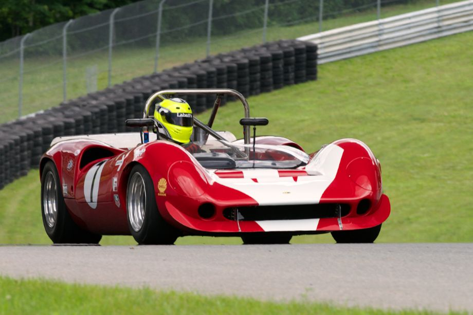 First sightings of the Can-Am cars came during Thursday's test sessions. This is the 1967 Lola T70 driven by Robert Blain.