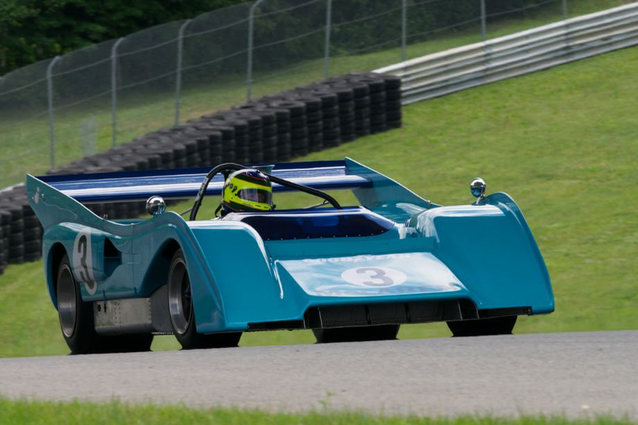 Rick Knoop in the 1972 McLaren M8F, 8357cc Can-Am car. This car/driver combo was a fan favorite.