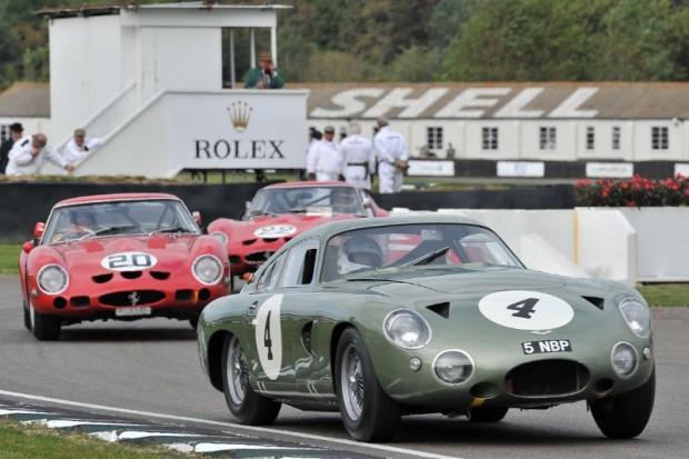 Aston Martin Project 214 leads a pair of Ferrari 250 GTOs