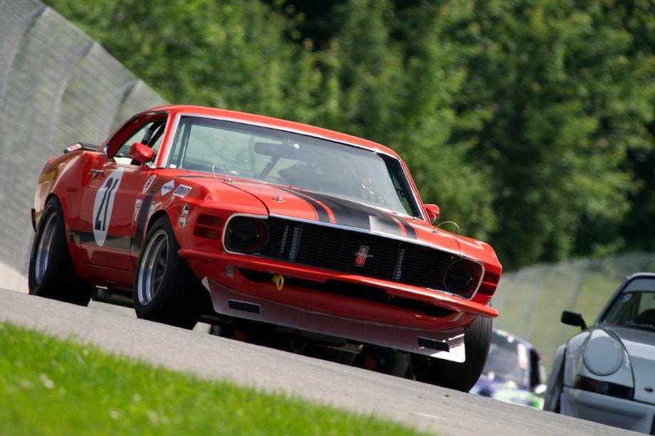 Guy Desjardin's 1970 Ford Mustang in turn twelve.
