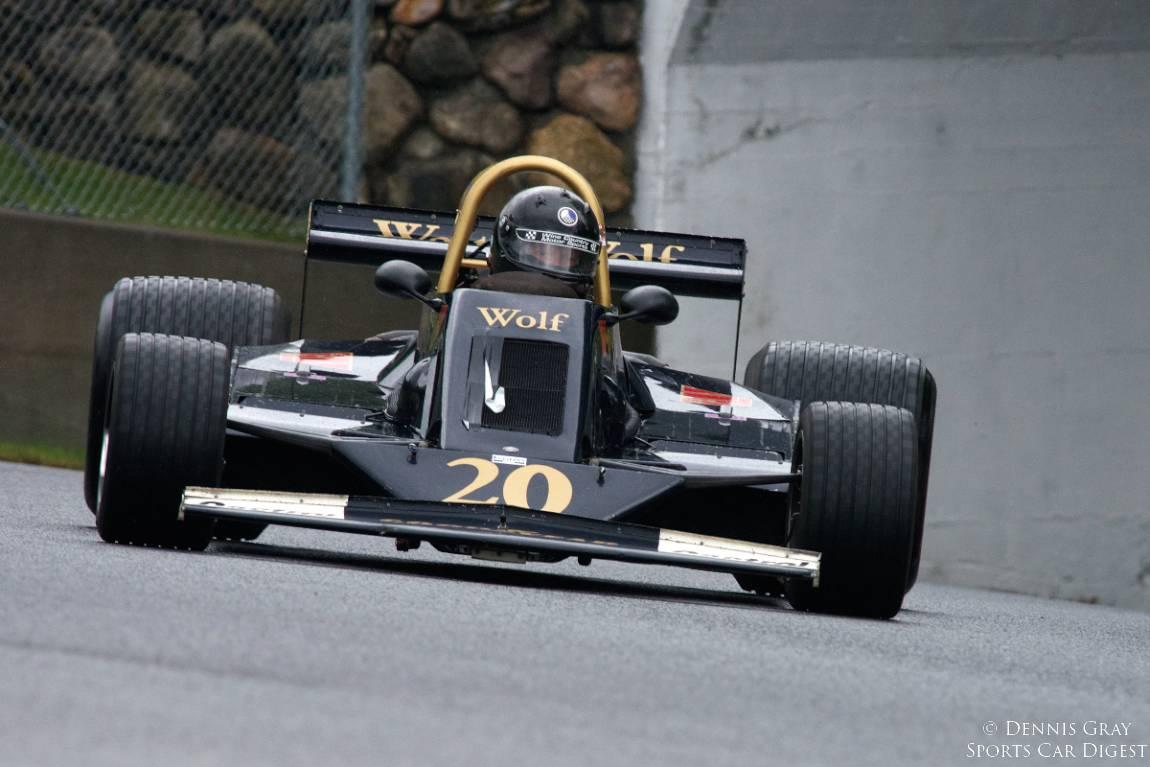 Shod with rain tires, Doug Mockett's 1978 Wolf WR6.